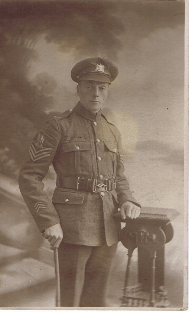 Signal Sergeant George Royle with 3 stripes on his lower sleeve signifying no. of years service overseas.
