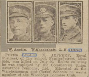Jeffrey Leslie MEN 8.8.1916 © THE BRITISH LIBRARY BOARD. ALL RIGHTS RESERVED
