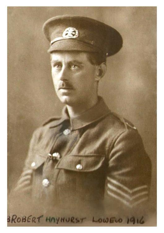 Sgt Robert Hayhurst Lowe wearing S Lancs Cap Badge(c) Martine Goodrich